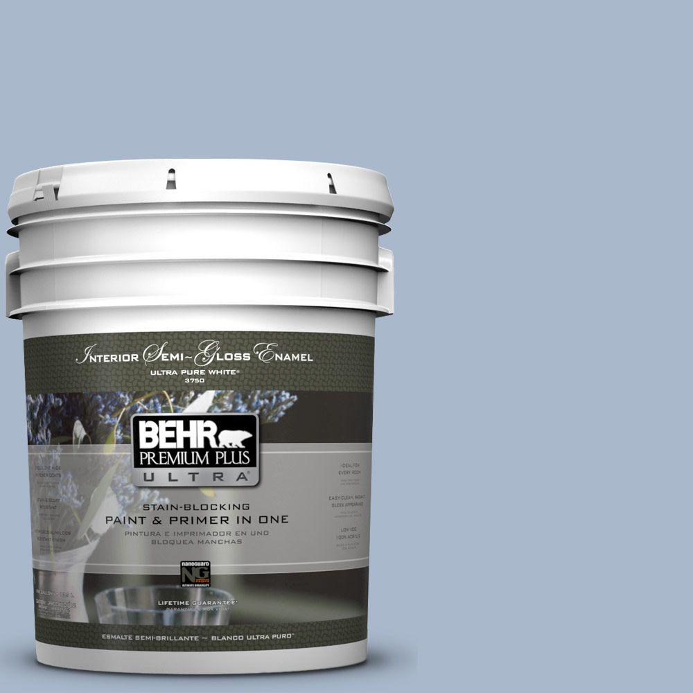 5-gal. #HDC-SP14-10 Blue Tribute Semi-Gloss Enamel Interior Paint