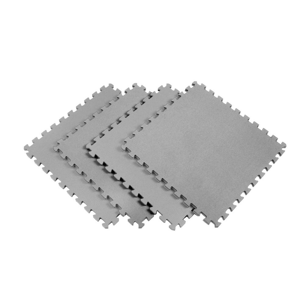 Norsk Multi-Purpose 24 in. x 24 in. Interlocking Gray Foam Flooring Recyclamat (4-Pieces)
