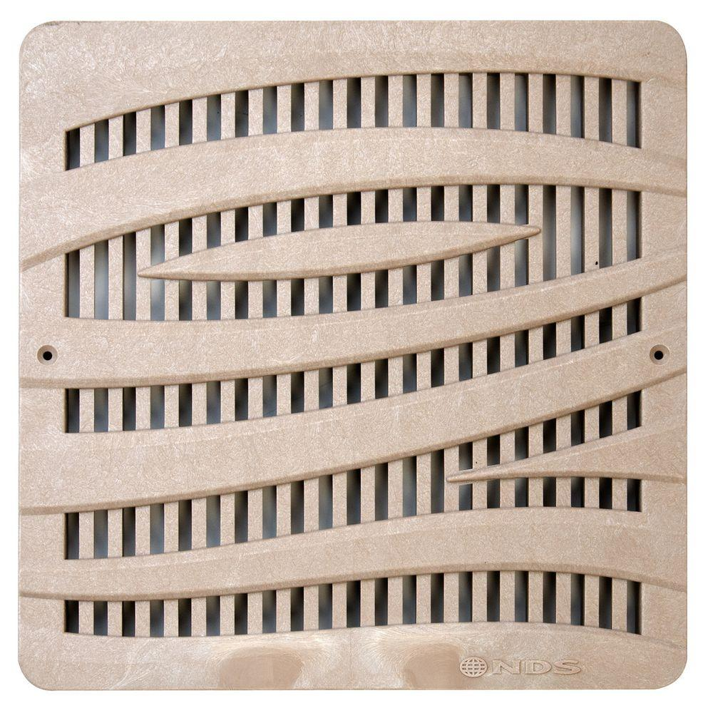 12 in. Plastic Wave Design Square Decorative Grate in Sand