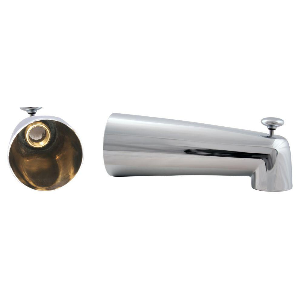Westbrass 7 in. Diverter Tub Spout, Polished Chrome