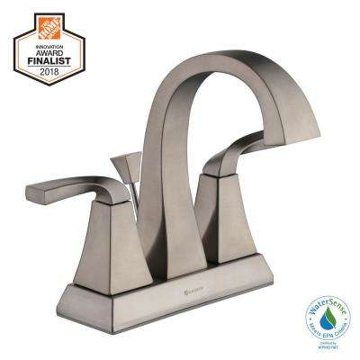Leary Curve 4 in. Centerset 2-Handle High-Arc Bathroom Faucet in Brushed Nickel
