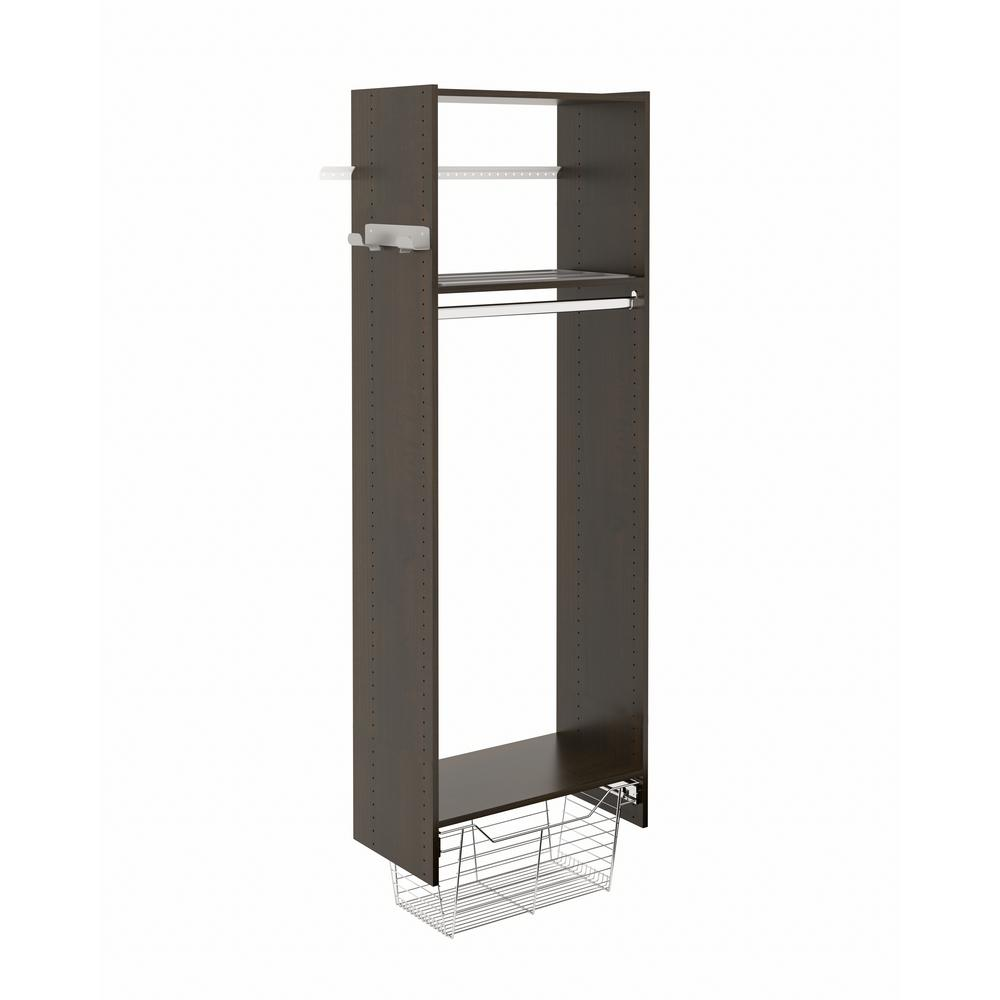 Closet Evolution 14 in. D x 25.125 in. W x 72 in. H Espresso Wood Laundry Tower Closet Kit