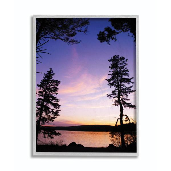 Stupell Industries Lakeside Sunset Silhouette Blue Orange Photograph By Joseph Elliott Framed Abstract Wall Art 11 In X 14 In Aba 113 Gff 11x14 The Home Depot