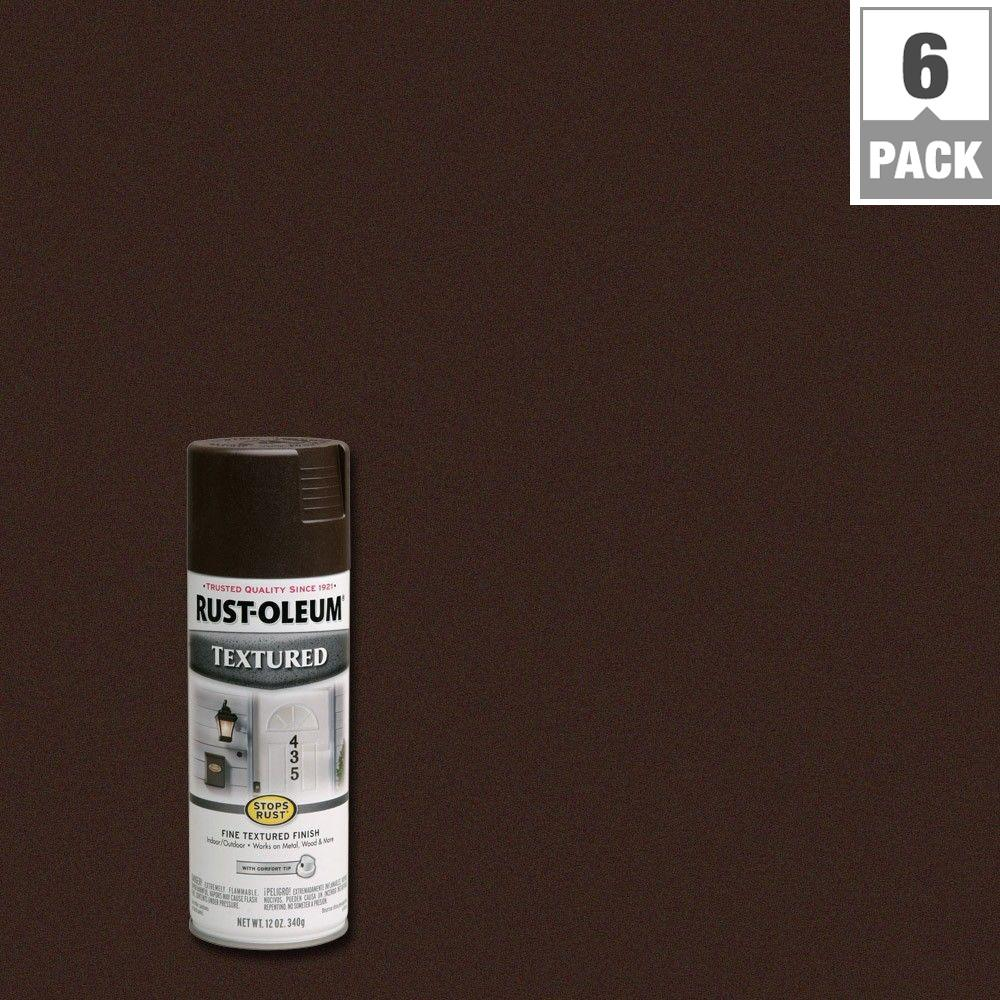12 oz. Textured Dark Brown Protective Spray Paint (6-Pack)