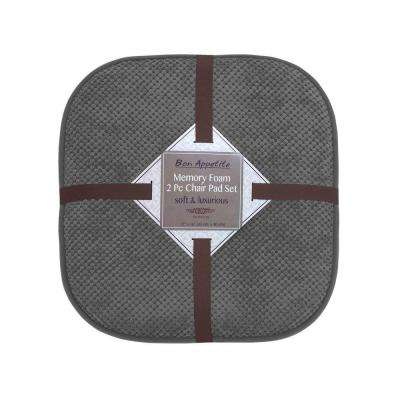 Bon Appetite 16 in. x 17 in. Dark Gray Memory Foam Cushioned Chair Pad (2-Pack)