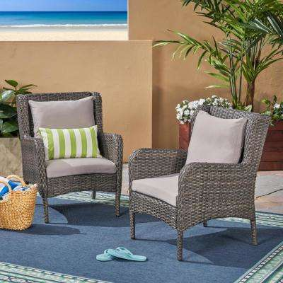 Adelaide Dark Grey Wicker Outdoor Lounge Chairs with Silver Cushions (2-Pack)