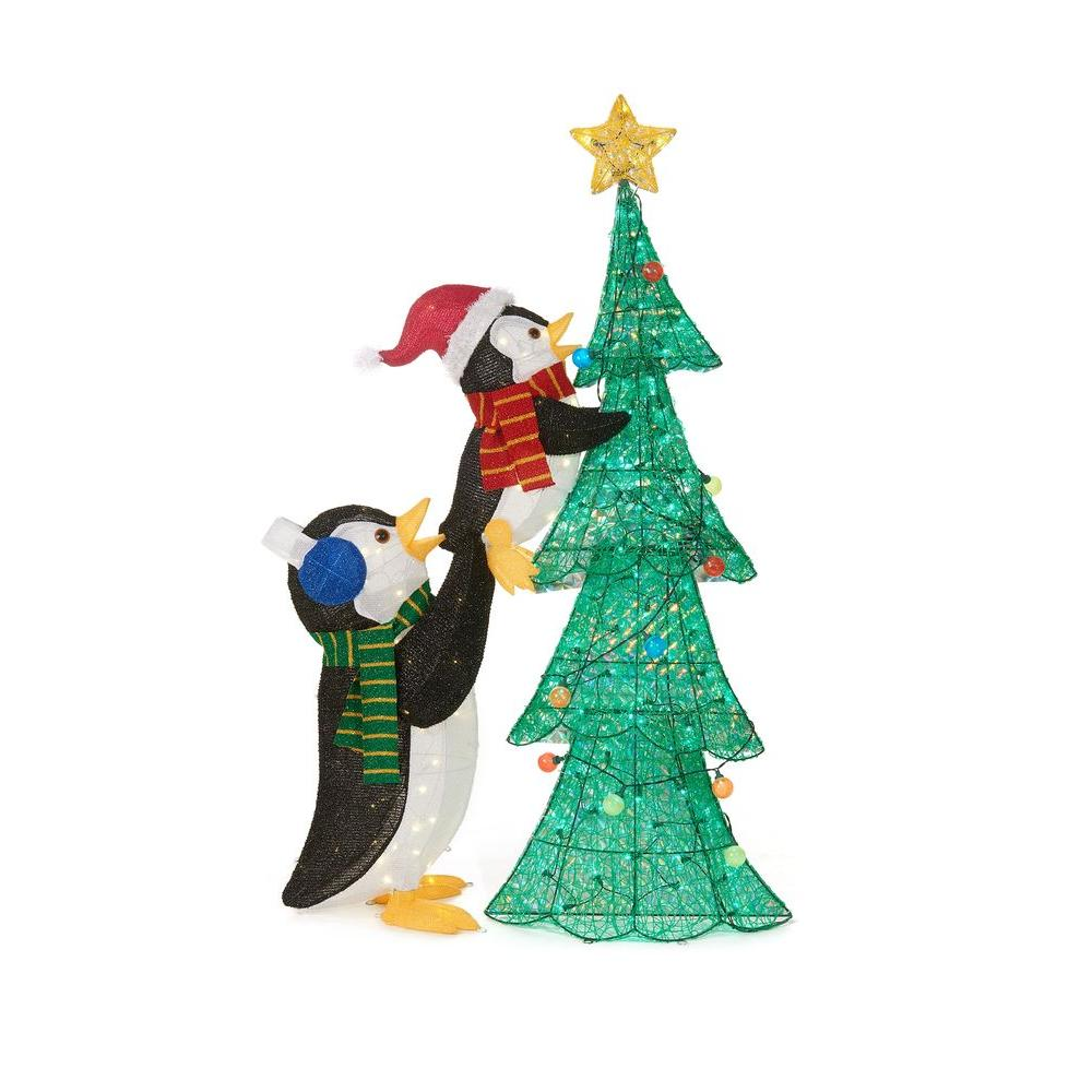 led lighted tinsel penguins with tree - Outdoor Tinsel Christmas Decorations