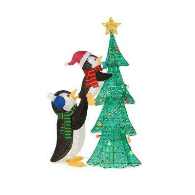 62 in. LED Lighted Tinsel Penguins with Tree