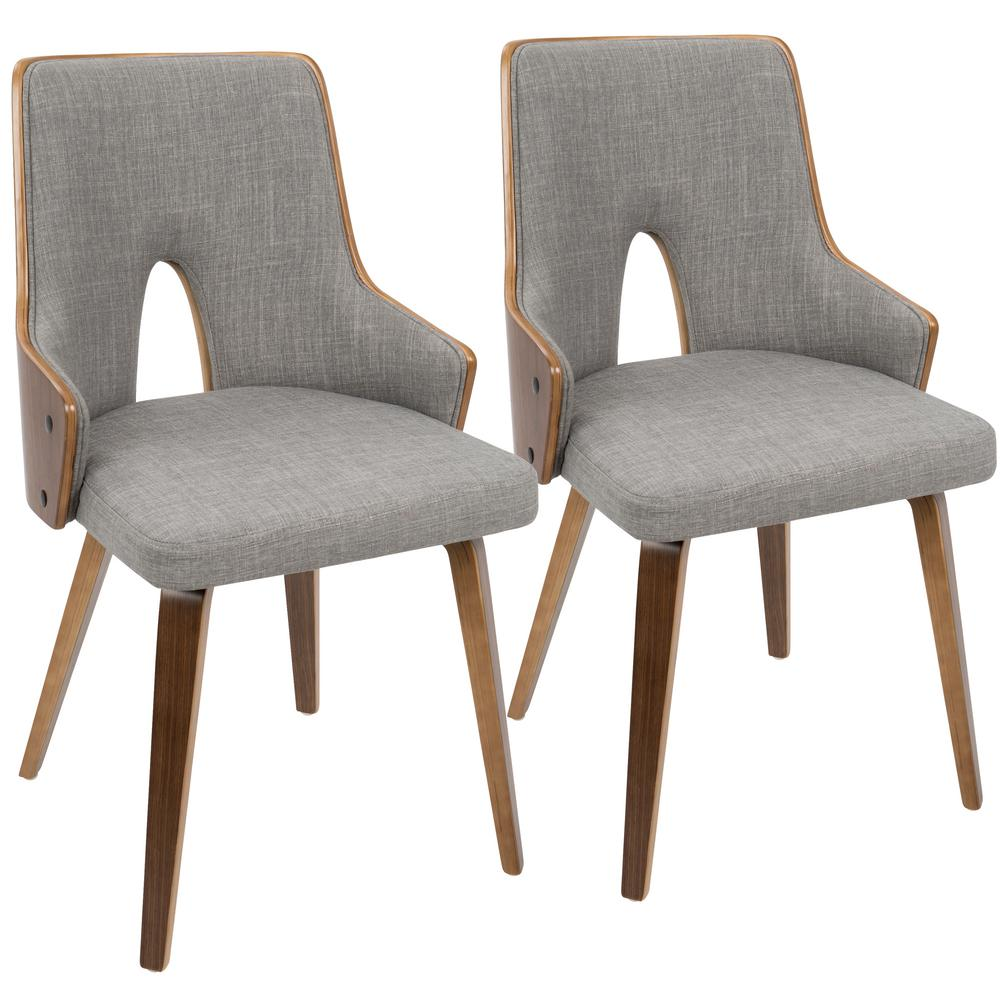 Lumisource Stella Walnut And Light Grey Accent Chair (Set Of 2)