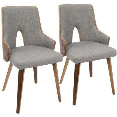 Stella Walnut and Light Grey Accent Chair (Set of 2)