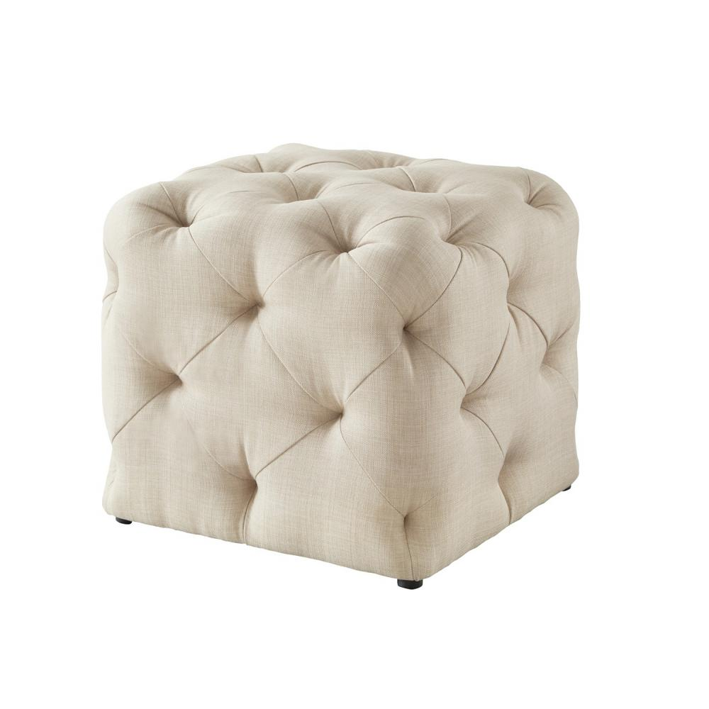 Inspired Home Genevieve Beige Cube Tufted Upholstered Linen Ottoman On84 03be Hd The Home Depot