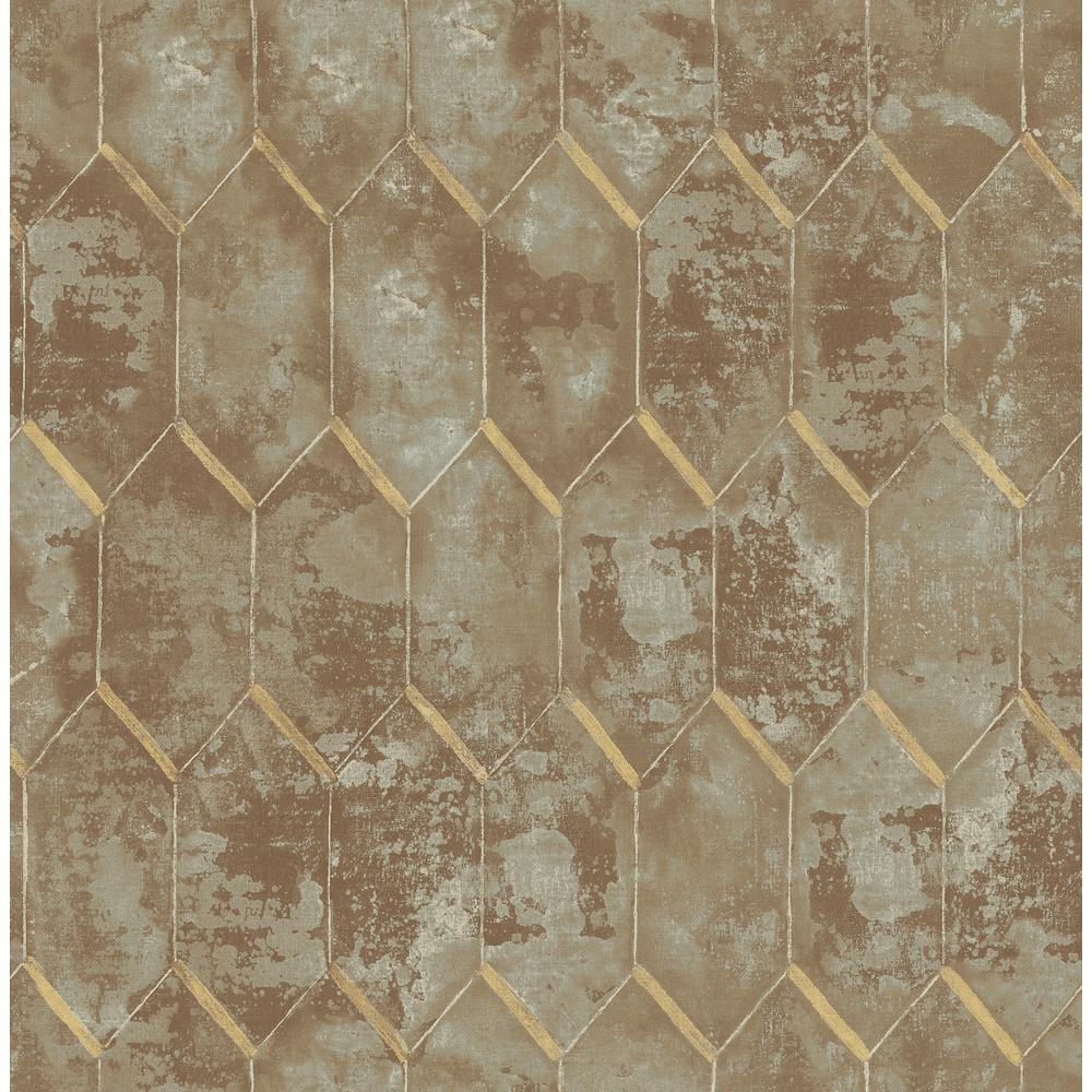 Whitney Metallic Copper and Gray Geometric Wallpaper