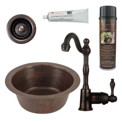 Bronze 16 Gauge Copper 12 in. Dual Mount Round Bar Sink with Faucet and Accessories
