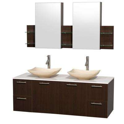 Amare 60 in. Double Vanity in Espresso with Solid-Surface Vanity Top in White, Marble Sinks and Medicine Cabinet
