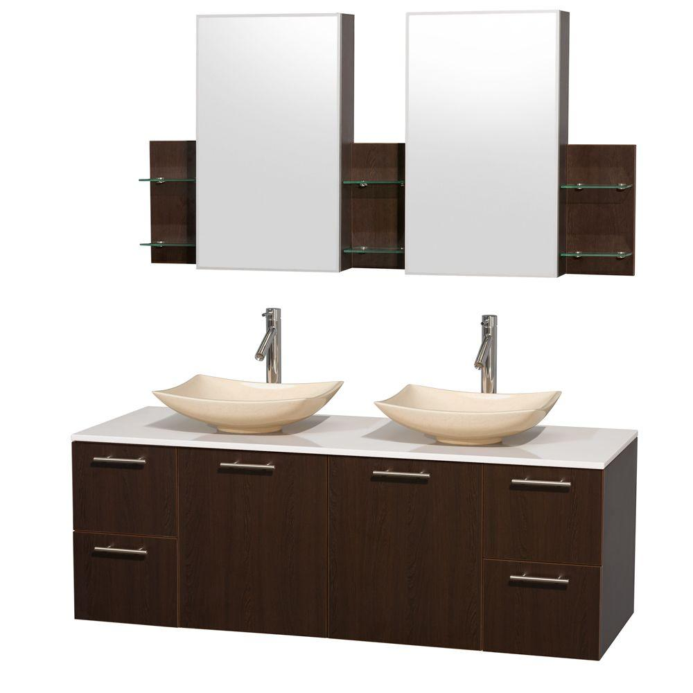 Amare 60 in. Double Vanity in Espresso with Solid-Surface Vanity Top