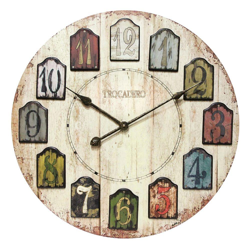 Home Decorators Collection In W Weathered Multicolored Plank Wall Clock 0815000730 The