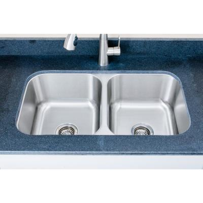 The Chefs Series Undermount Stainless Steel 33 in. 50/50 Double Bowl Kitchen Sink