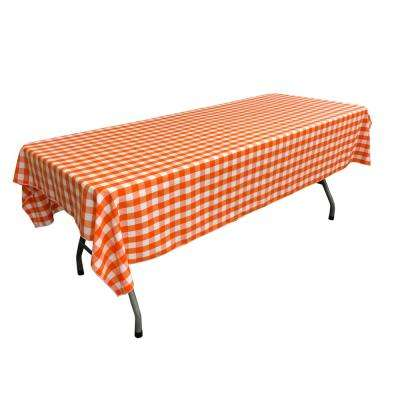 60 in. x 102 in. White and Orange Polyester Gingham Checkered Rectangular Tablecloth