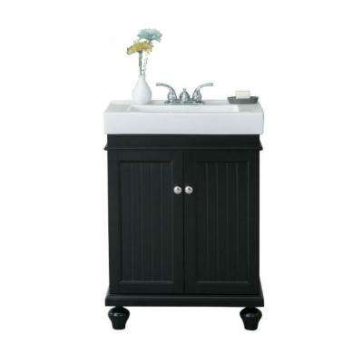 24 in. H x 34.5 in. H Vanity in Espresso with Ceramic Vanity Top in White with White Ceramic Basin