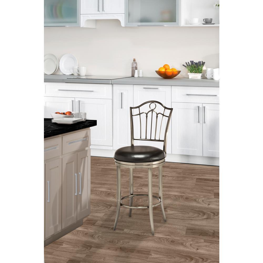 Hillsdale 5319-827 Rouen Swivel Counter Stool Shiny Nickel 26