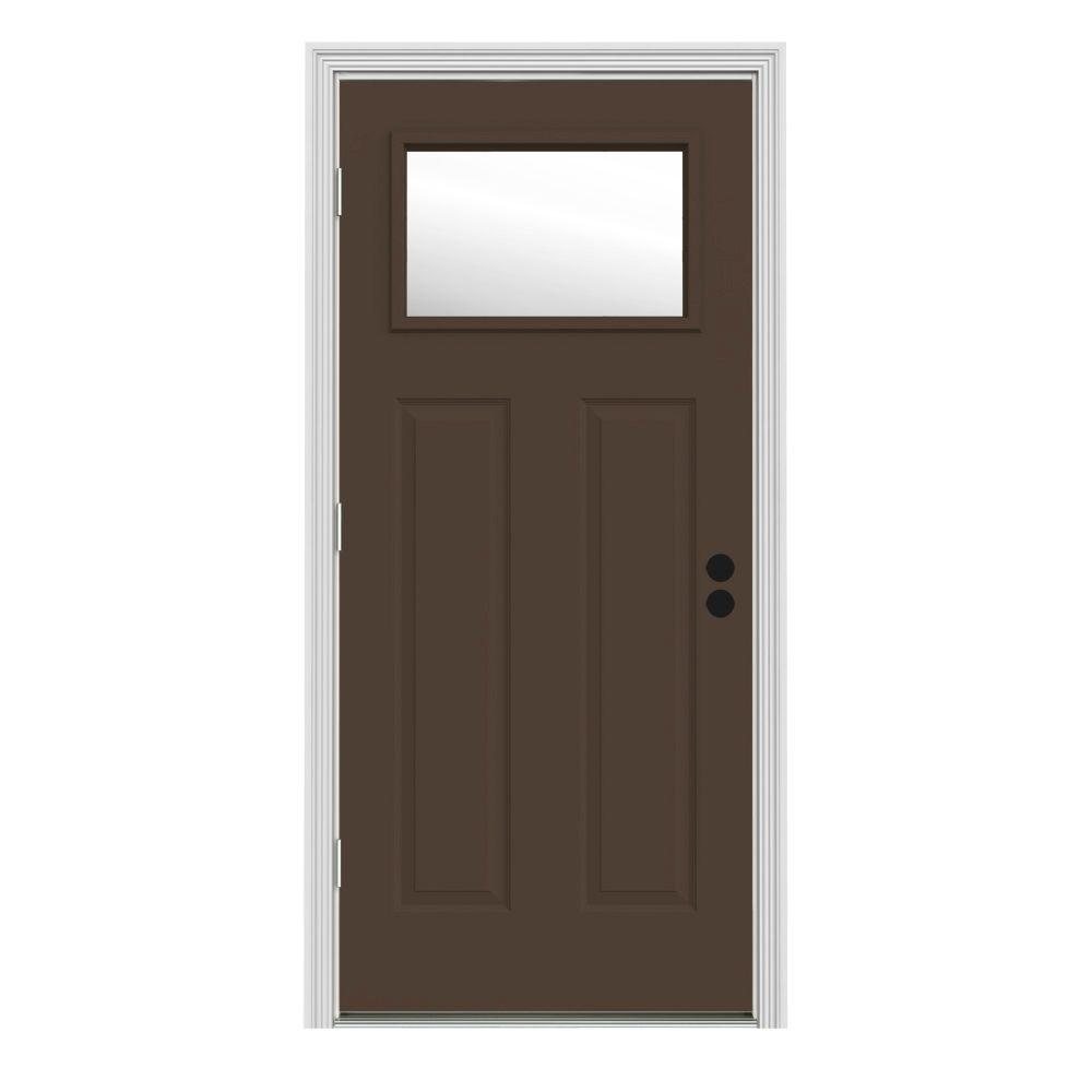 32 in. x 80 in. 1 Lite Craftsman Dark Chocolate Painted