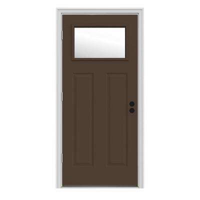 34 in. x 80 in. 1 Lite Craftsman Dark Chocolate Painted Steel Prehung Right-Hand Outswing Front Door w/Brickmould