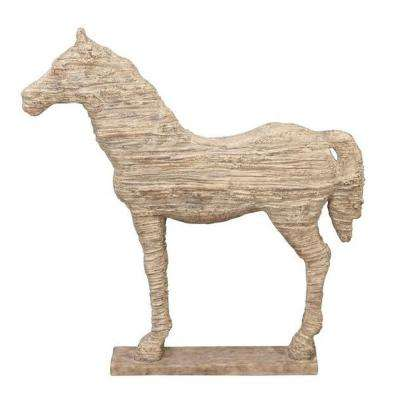Horse 19 in. H Natural Statue