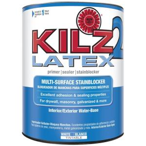 KILZ 2 LATEX 1 qt. White Interior/Exterior Multi-Surface Primer, Sealer, and Stain Blocker