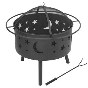 30.3 in. X 30.9 in. Round Metal Outdoor Wood Burning Fire Pit Fire Bowl BBQ Grill with Mesh Spark Screen Cover