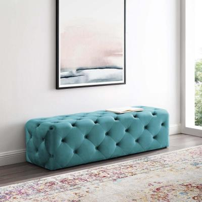Anthem Sea Blue 60 in. Tufted Button Entryway Performance Velvet Bench