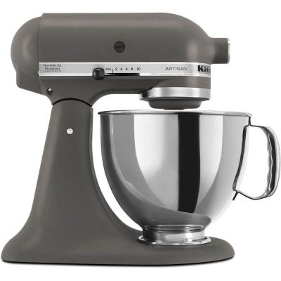 Artisan 5 Qt. 10-Speed Imperial Grey Stand Mixer with Flat Beater, 6-Wire Whip and Dough Hook Attachments