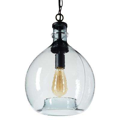 17 in. H and 11 in. W 1-Light Black Wavy Hammered Hand Blown Glass Pendant with Blue Glass Shade
