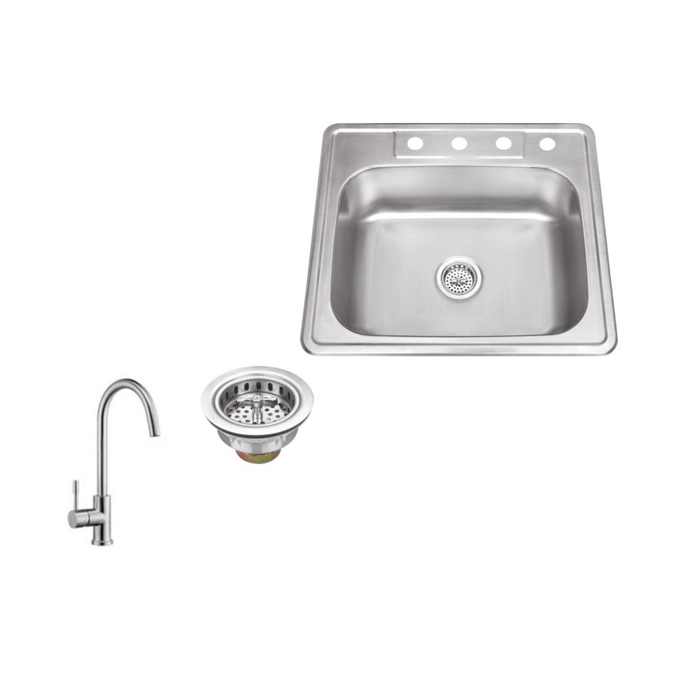 IPT Sink Company Drop-in 25 in. 4-Hole Stainless Steel Kitchen ...