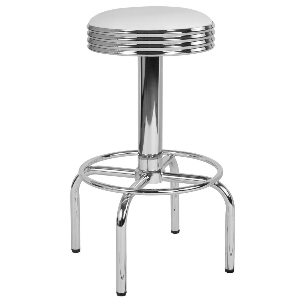 28 In Bar Height White Stool