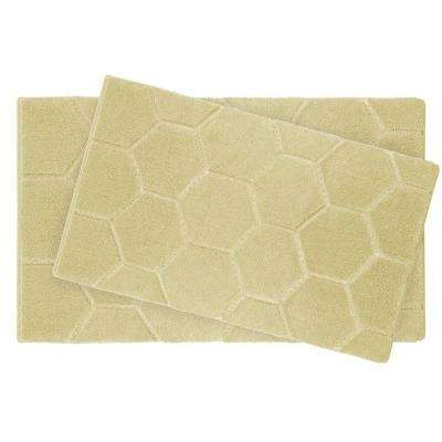 Pearl Honeycomb Banana 2-Piece Bath Mat Set