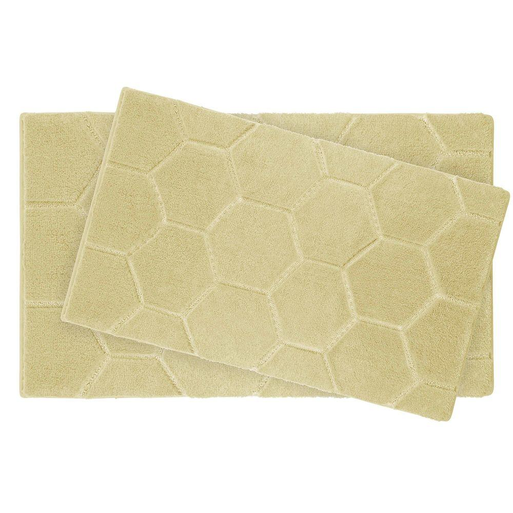 Laura Ashley Pearl Honeycomb Banana 2-Piece Bath Mat Set-YMB003848 ...
