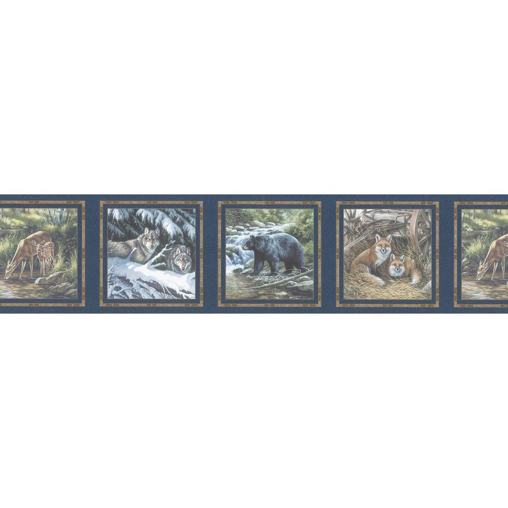 Multi Color Animal Scene Wallpaper Border Sample