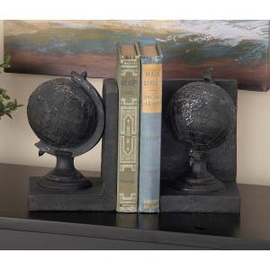7 inch x 5 inch Polystone Globe Bookends by