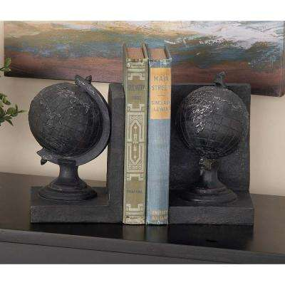 7 in. x 5 in. Polystone Globe Bookends
