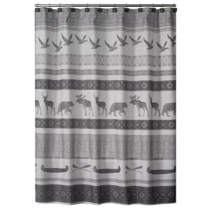 Saturday Knight 72 inch Gray Wilderness Calling Fabric Shower Curtain by Saturday Knight