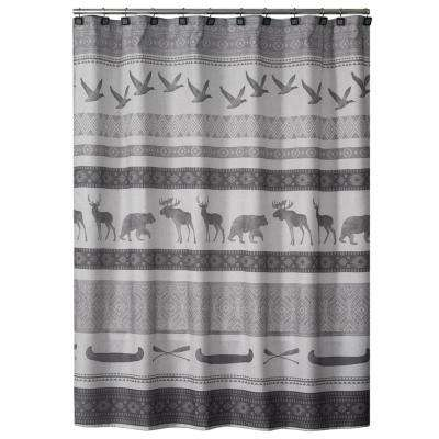 Gray Wilderness Calling Fabric Shower Curtain