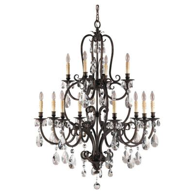 Salon Maison 12-Light Aged Tortoise Shell Multi-Tier Chandelier