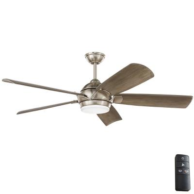 Camrose 60 in. Integrated LED Brushed Nickel Ceiling Fan with Light Kit and Remote with White Color Changing Technology