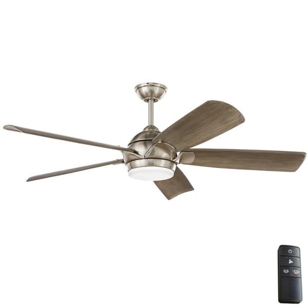 Home Decorators Collection Camrose 60 In Integrated Led Brushed Nickel Ceiling Fan With Light Kit And Remote With White Color Changing Technology 51860 The Home Depot