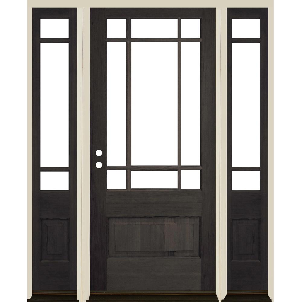Right Hand Inswing Wood Single Door With Sidelites Front Doors Exterior Doors The Home Depot