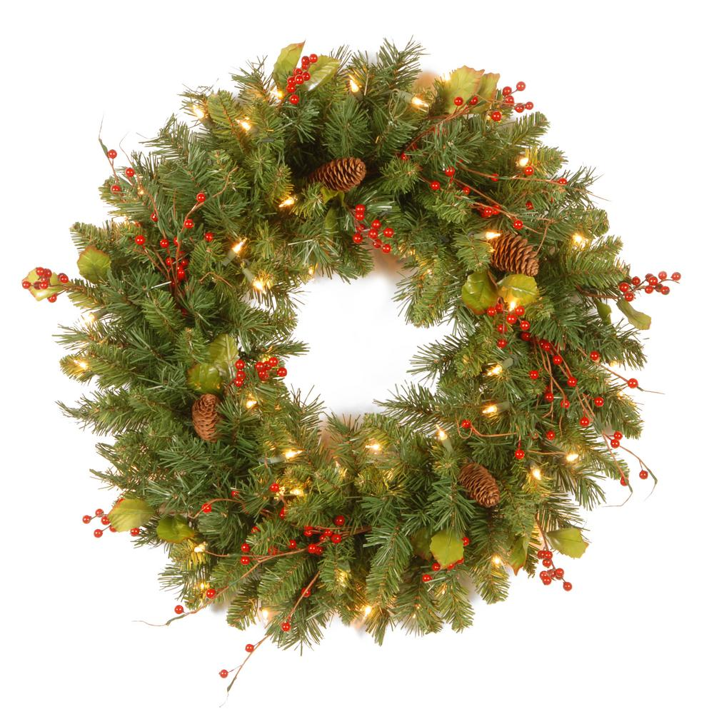 Classical Collection 24 in. Artificial Wreath with Clear Lights