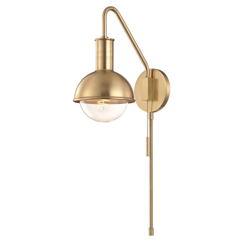Mitzi by Hudson Valley Lighting Riley 1-Light Aged Brass ... on Aged Brass Wall Sconce id=92466