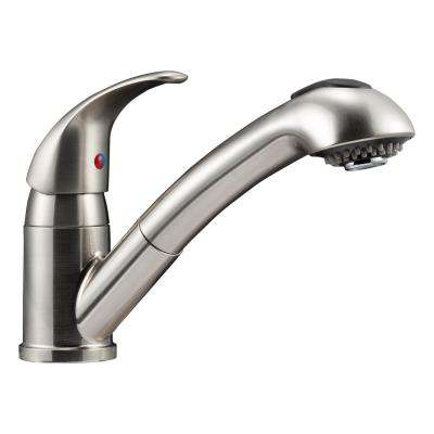 Single-Handle Pull-Out Sprayer Kitchen Faucet with Multiple Spray Functions in Brushed Satin Nickel
