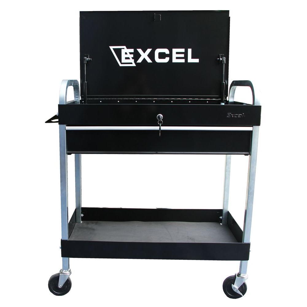 30 in. W x 16.1 in. D x 35.5 in. H Steel Tool Cart, Black