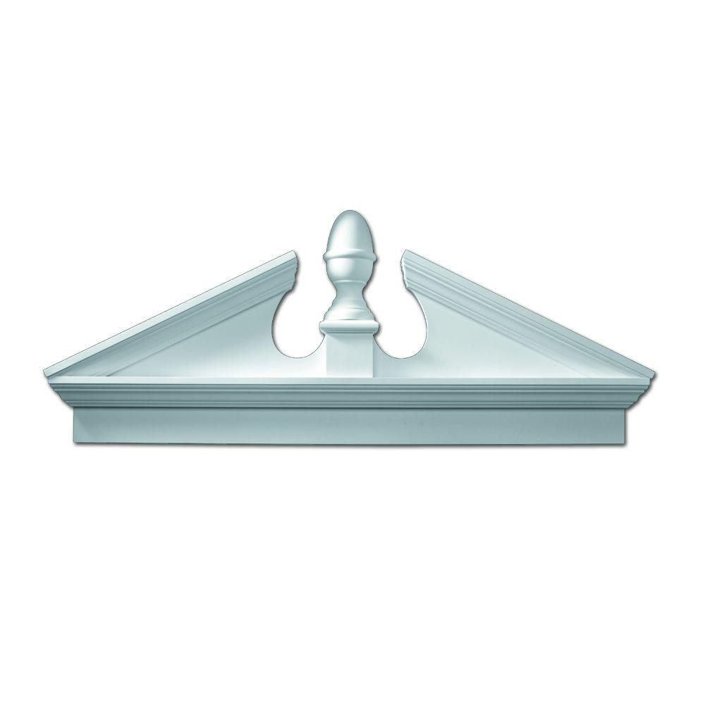 Fypon 67-1/2 in. x 25-1/8 in. x 3-1/8 in. Polyurethane Combination Acorn Pediment with Bottom Trim